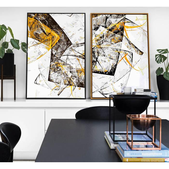 Malen nach Zahlen Duo schwarz weiss gelb-moderne Kunst