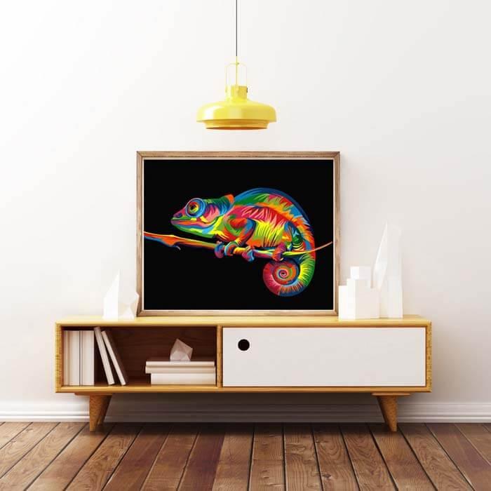 Malen-nach-Zahlen-Chamaeleon-Mehrfarbig-Kunst