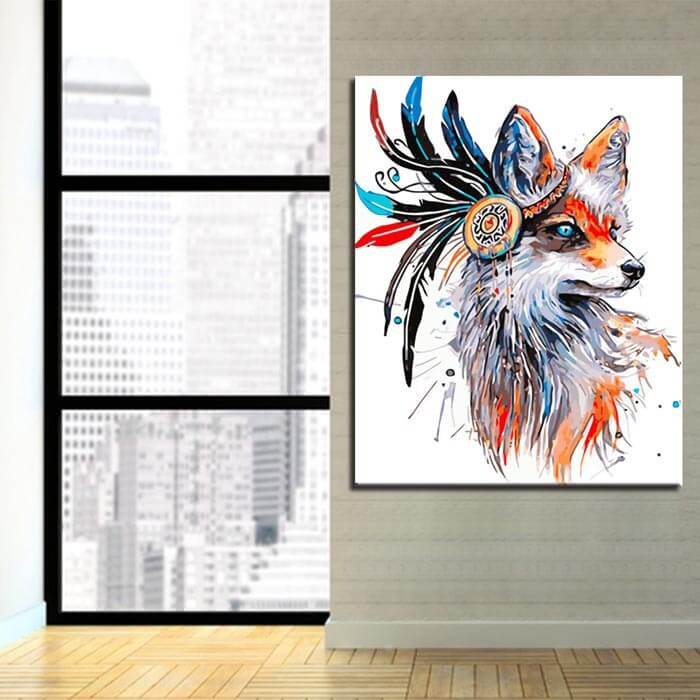 Painting by Numbers fox with feathers