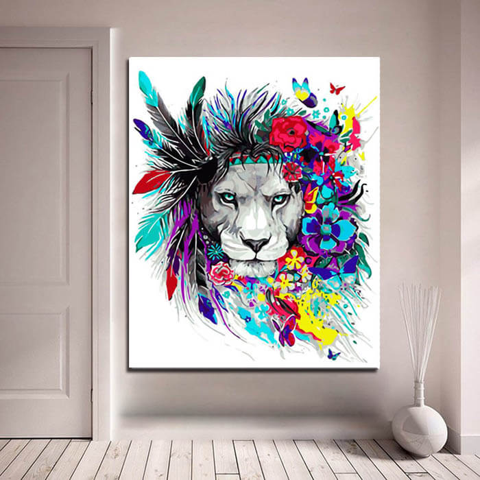 Paint by numbers lion flower-mane