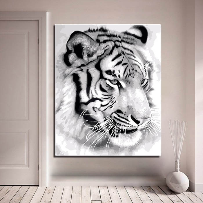 Paint by numbers tiger portrait black and white
