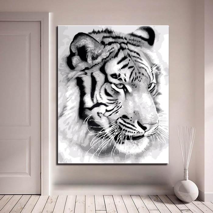 Malen nach Zahlen Tiger Portrait schawarz-weiß