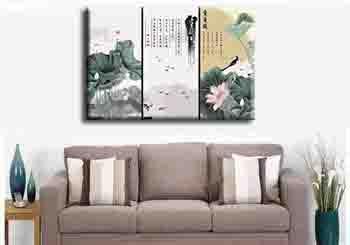 Malen nach Zahlen Triptychon Japanisches Stillleben mit Blumen