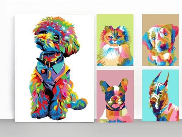 Porträt im Regenbogen-Effektstil als Malen nach Zahlen Set