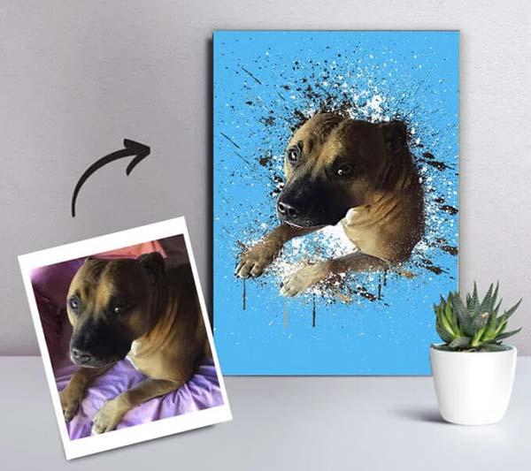 Custom pet portrait in watercolor style