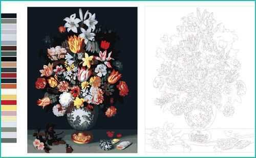 Malen nach Zahlen Blumen Strauss