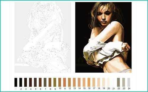 Malen nach Zahlen schwarz weiß