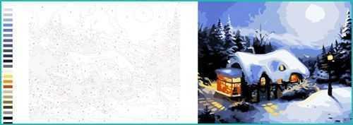Malen nach Zahlen für Erwachsene Vorlagen Winterhaus