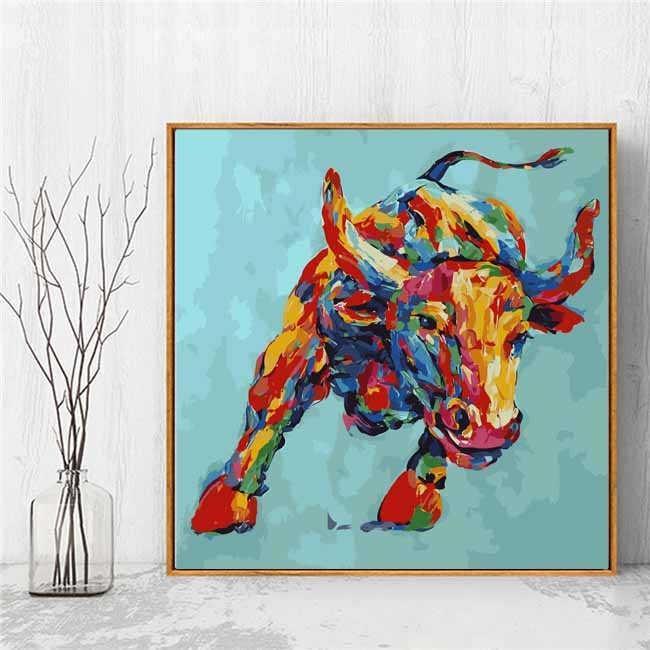 Malen nach Zahlen Groß Stier 80x80 cm